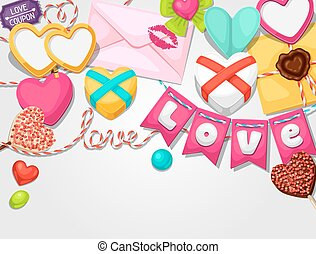 Greeting card with hearts, objects, decorations. Concept can...
