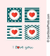 Greeting card with hearts. Text I love you