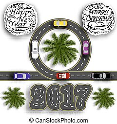 Greeting card with holidays. Travel the holidays. Road with a marking. Cars. Greeting inscription Happy New Year 2017 and Merry Christmas. illustration