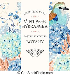Greeting card with hydrangea