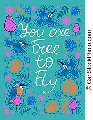 Greeting card with kingfishers and the inscription with You are free to fly. Vector graphics.