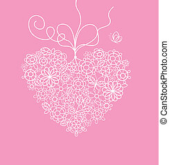 Greeting card with lacy heart