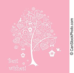 Greeting card with lacy tree