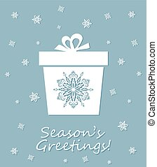 Greeting card with laser cut out decorative xmas snowflakes box. Template for Christmas cards