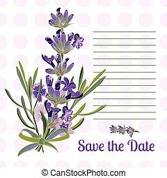 Greeting card with Lavender flowers. Botanical illustration.