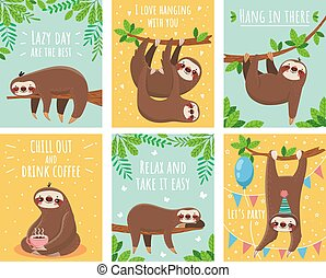 Greeting card with lazy sloth. Cartoon cute sloths cards...
