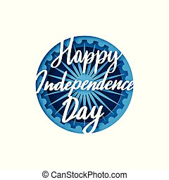 Greeting card with lettering for celebrating Independence Day of India.15th August.