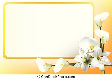 Greeting card with lilies and calla lilies