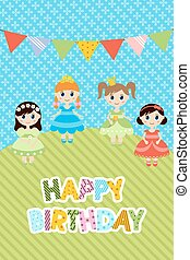 Greeting card with little girls