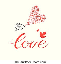 Greeting card with lovers with birds