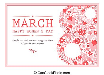 Greeting Card with March 8. Vector Illustration