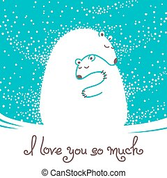 Greeting card with mother bear hugging her baby. Vector...