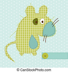 Greeting card with Mouse - for scrapbook, invitation, celebration with place for your text