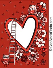 Greeting card with owls love and a heart frame