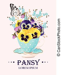 Greeting card with pansies