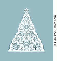 Greeting card with paper cut out decorative xmas snowflakes tree. Template for Christmas cards