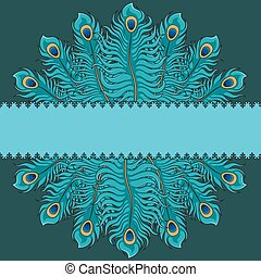 Greeting card with peacock feathers and a place for an inscription