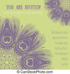 Greeting card with peacock feathers motif Vector