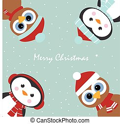 greeting card with penguins and owls