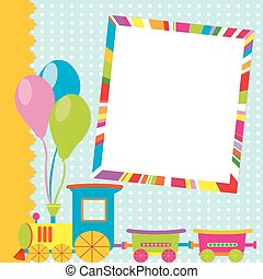 Greeting card with photo frame and cartoon train