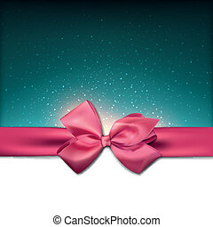 Greeting card with pink bow.