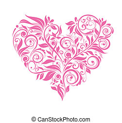 Greeting card with pink floral heart