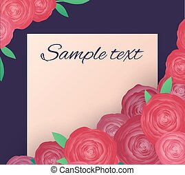 Greeting card with pink roses and place for text. Vector element for cards, invitations and your design