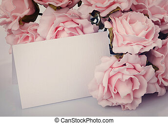 Greeting card with pink roses