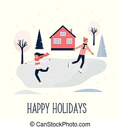 Greeting card with pretty skating girl and boy