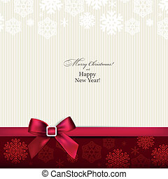 Greeting card with red bow. - Christmas paper background ...