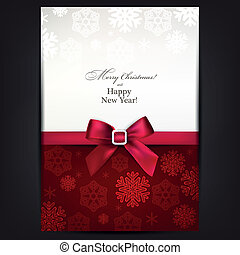 Greeting card with red bow. - Christmas paper background...