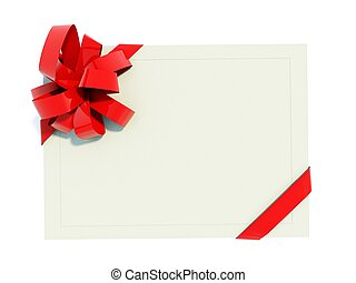 Greeting card with red bow isolated on white