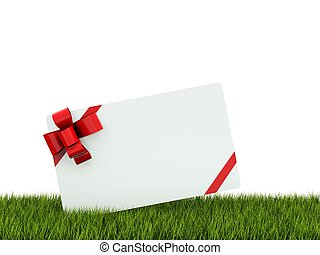 Greeting card with red bow on grass
