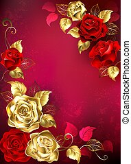 Greeting card with red jewelry roses