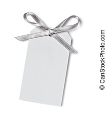 greeting card with ribbon note - close up of card note with...