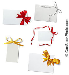 collection of various card notes with ribbon on white background. each one is shot separately