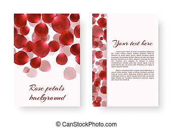 Greeting card with rose petals
