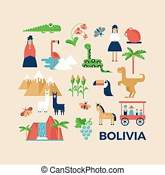 Greeting card with sightseeing of Bolivia