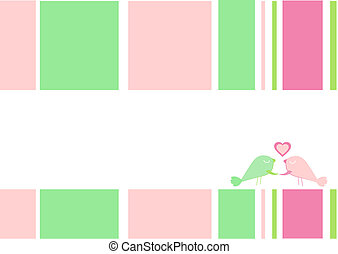 Greeting card with small birds and heart, as background