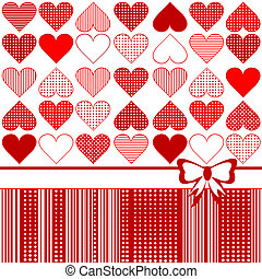 Greeting card with stylized hearts and bow