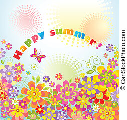 Greeting card with summer flowers