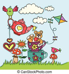 Greeting card with teddy bear and birds