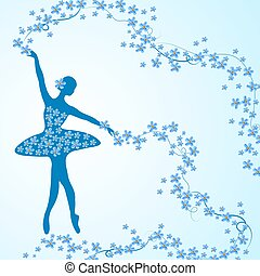 Greeting card with tender ballerina and flowers