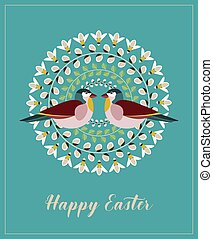 Greeting Card with Text Happy Easter. Mandala with Pussy Willow Branches, Green Leaves, Bees and Birds.
