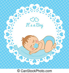 Greeting card with the birth of a boy