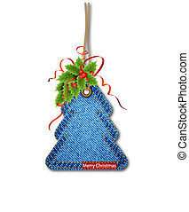 Greeting card with the Christmas tree on the denim texture