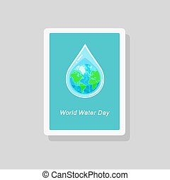 Greeting card with the Earth globe inside water drop. World...