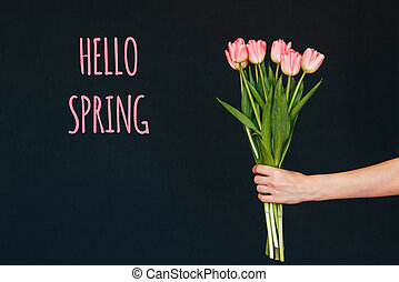 Greeting card with the inscription hello spring. Bouquet of pink Tulip flowers in a woman's hand
