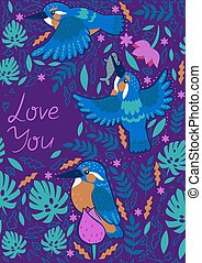 Greeting card with the inscription love you. Kingfishers on a purple background. Vector graphics.