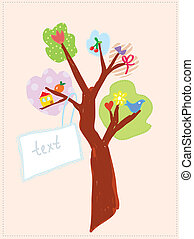 Greeting card with tree and banner for child funny design